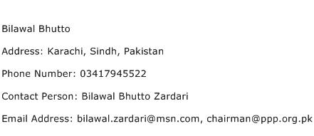 Bilawal Bhutto Address Contact Number