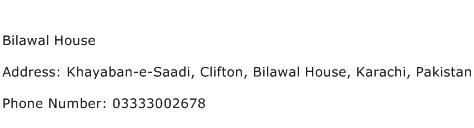 Bilawal House Address Contact Number