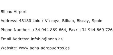 Bilbao Airport Address Contact Number