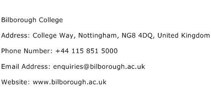 Bilborough College Address Contact Number