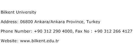 Bilkent University Address Contact Number