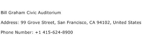 Bill Graham Civic Auditorium Address Contact Number