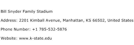 Bill Snyder Family Stadium Address Contact Number