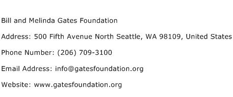Bill and Melinda Gates Foundation Address Contact Number