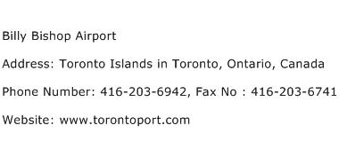 Billy Bishop Airport Address Contact Number