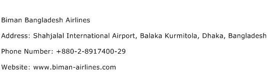 Biman Bangladesh Airlines Address Contact Number
