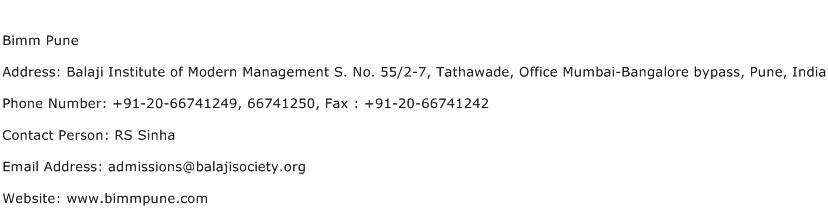 Bimm Pune Address Contact Number
