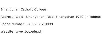 Binangonan Catholic College Address Contact Number