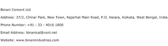 Binani Cement Ltd Address Contact Number