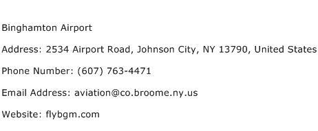 Binghamton Airport Address Contact Number