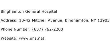 Binghamton General Hospital Address Contact Number