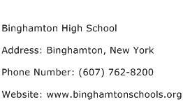 Binghamton High School Address Contact Number