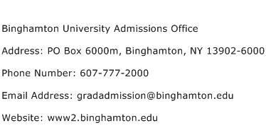 Binghamton University Admissions Office Address Contact Number