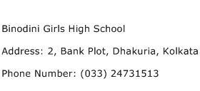 Binodini Girls High School Address Contact Number