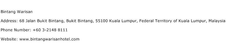 Bintang Warisan Address Contact Number