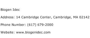 Biogen Idec Address Contact Number