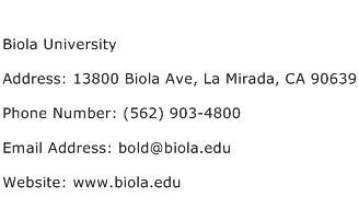 Biola University Address Contact Number