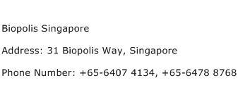 Biopolis Singapore Address Contact Number