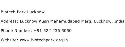 Biotech Park Lucknow Address Contact Number