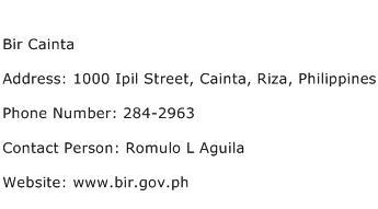 Bir Cainta Address Contact Number