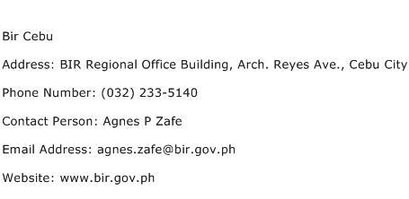 Bir Cebu Address Contact Number