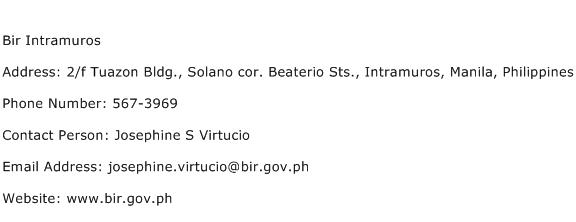 Bir Intramuros Address Contact Number