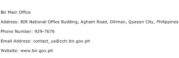 Bir Main Office Address Contact Number