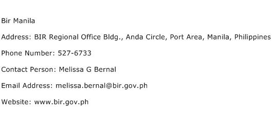 Bir Manila Address Contact Number