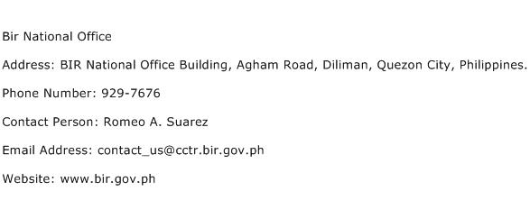 Bir National Office Address Contact Number