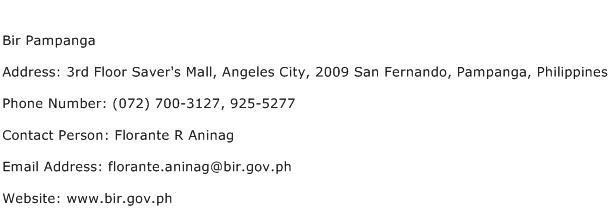 Bir Pampanga Address Contact Number