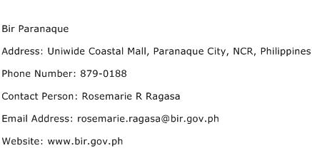 Bir Paranaque Address Contact Number