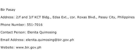 Bir Pasay Address Contact Number