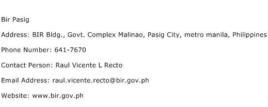 Bir Pasig Address Contact Number