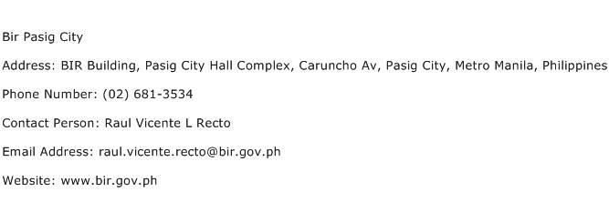 Bir Pasig City Address Contact Number