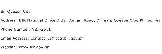 Bir Quezon City Address Contact Number