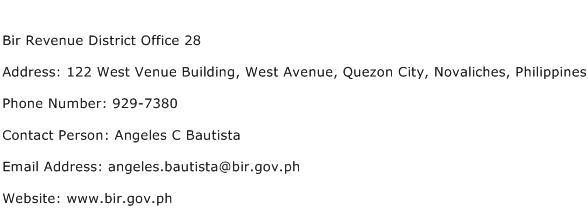 Bir Revenue District Office 28 Address Contact Number