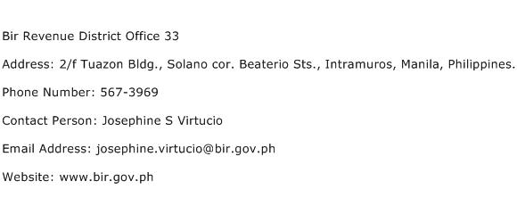Bir Revenue District Office 33 Address Contact Number