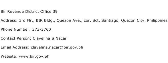 Bir Revenue District Office 39 Address Contact Number