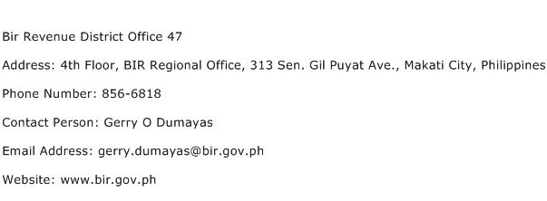 Bir Revenue District Office 47 Address Contact Number