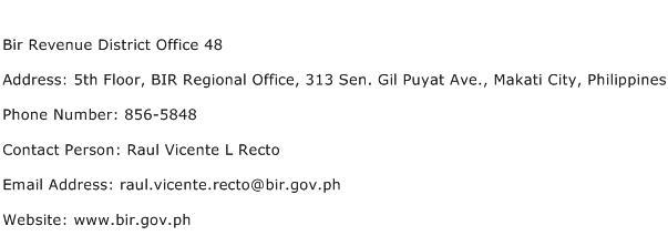 Bir Revenue District Office 48 Address Contact Number