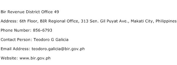 Bir Revenue District Office 49 Address Contact Number