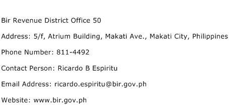 Bir Revenue District Office 50 Address Contact Number