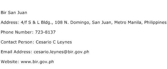 Bir San Juan Address Contact Number