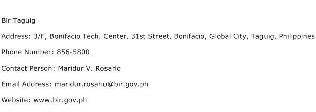 Bir Taguig Address Contact Number