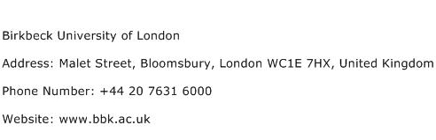 Birkbeck University of London Address Contact Number
