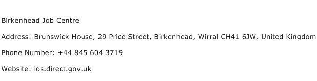 Birkenhead Job Centre Address Contact Number