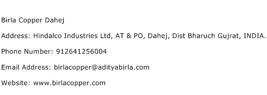 Birla Copper Dahej Address Contact Number