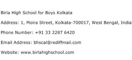 Birla High School for Boys Kolkata Address Contact Number