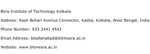 Birla Institute of Technology Kolkata Address Contact Number