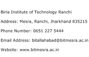 Birla Institute of Technology Ranchi Address Contact Number